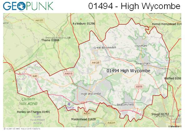 Map of the High Wycombe area code