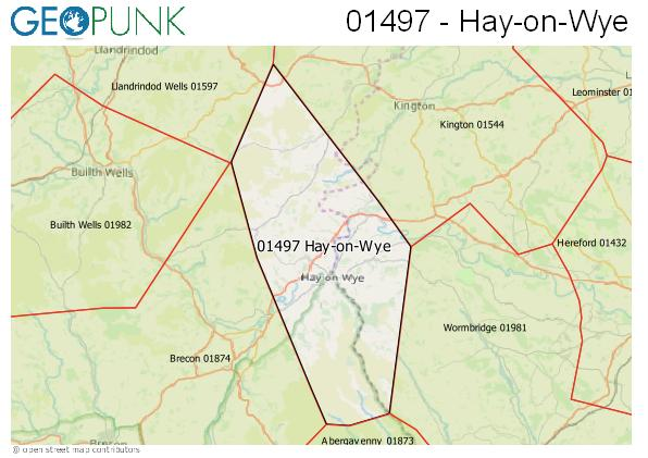 Map of the Hay-on-Wye area code