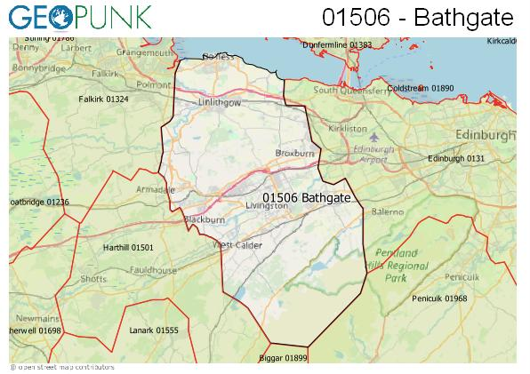 Map of the Bathgate area code