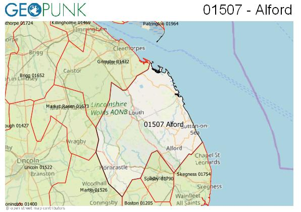 Map of the Alford (Lincs), Louth, Spilsby area code