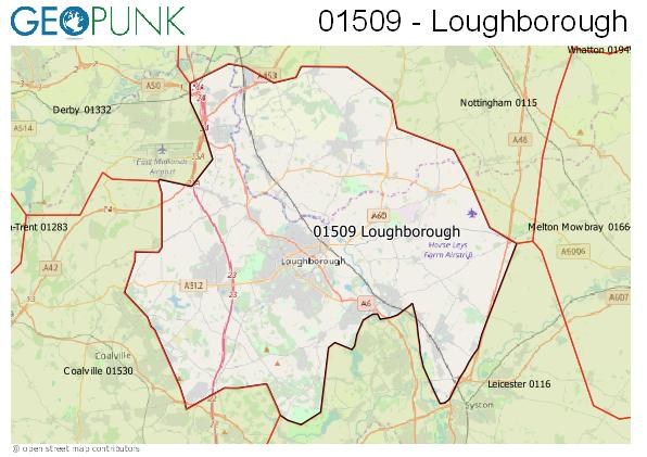 Map of the Loughborough area code
