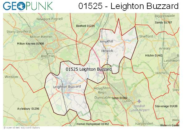 Map of the Leighton Buzzard area code