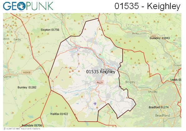 Map of the Keighley area code