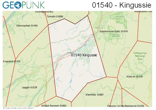 Map of the Kingussie area code