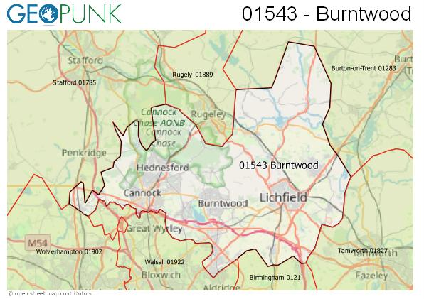 Map of the Cannock area code