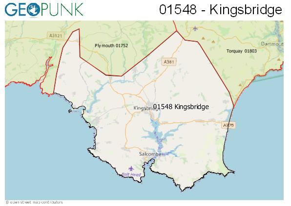 Map of the Kingsbridge area code