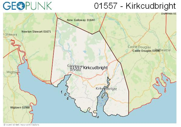 Map of the Kirkcudbright area code