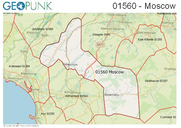 Map of the Moscow, Dunlop, Darvel, Fenwick, Stewarton area code
