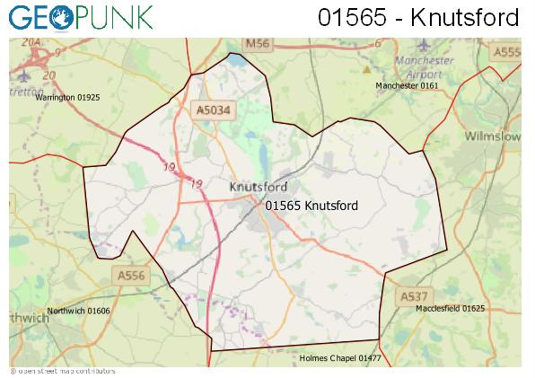 Map Of England Knutsford.01565 View Map Of The Knutsford Area Code