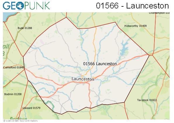 Map of the Launceston area code