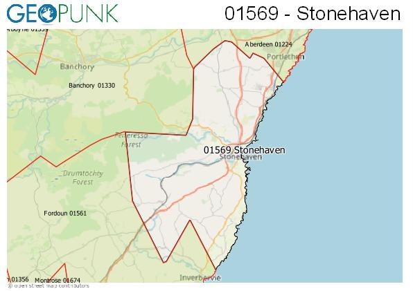 Map of the Stonehaven area code