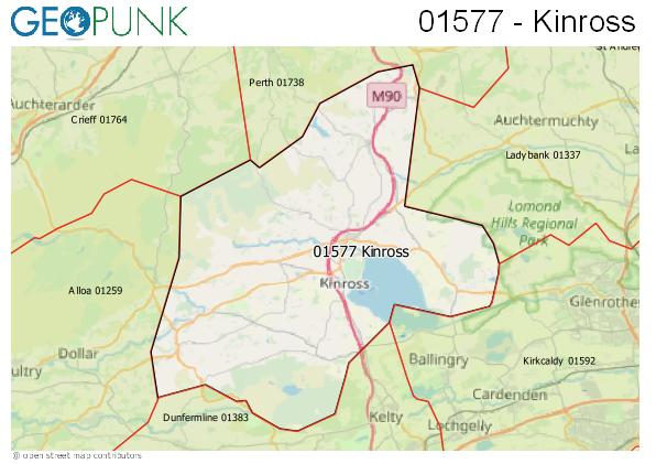 Map of the Kinross area code