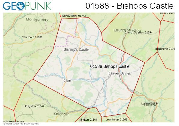 Map of the Bishops Castle area code