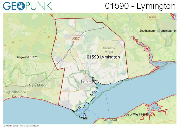 Map of the Lymington area code