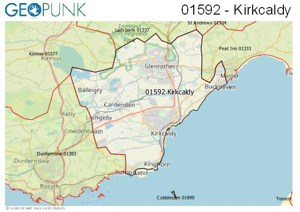Map of the Kirkcaldy area code