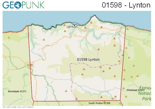 Map of the Lynton area code