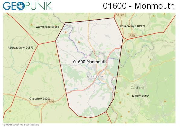 Map of the Monmouth area code