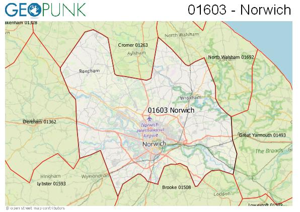 Map of the Norwich area code