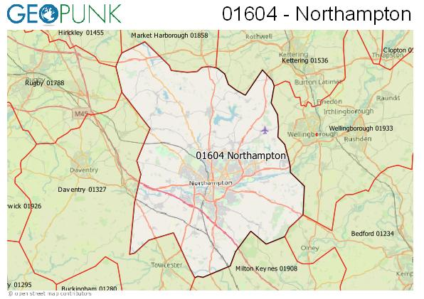 Map of the Northampton area code