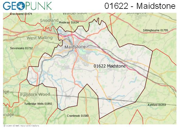 Map of the Maidstone area code