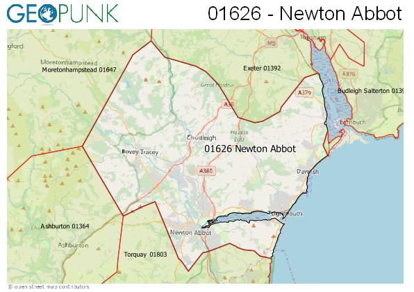 Map of the Newton Abbot area code