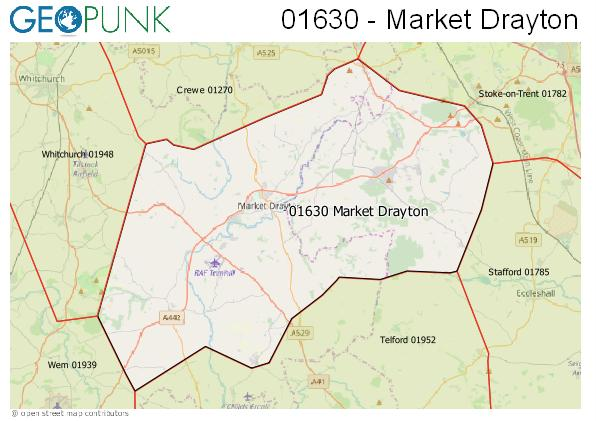 Map of the Market Drayton area code