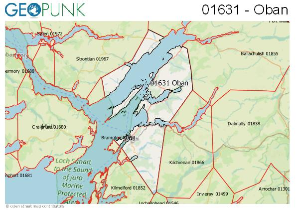 Map of the Oban area code