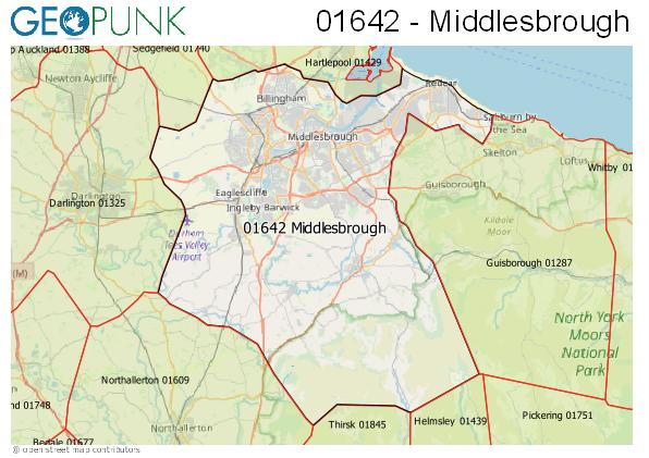 Map of the Middlesbrough area code