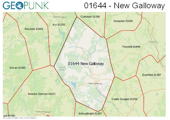 Map of the New Galloway area code
