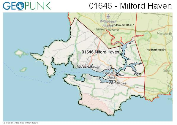 Map of the Milford Haven area code