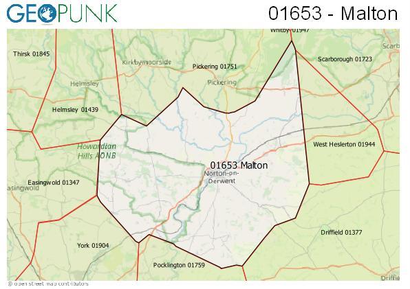 Map of the Malton area code