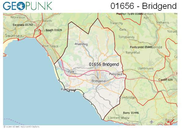 Map of the Bridgend area code