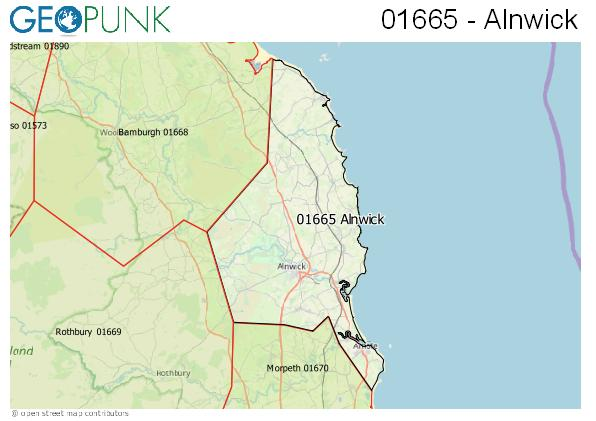 Map of the Alnwick area code