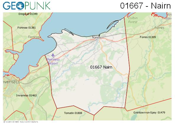 Map of the Nairn area code