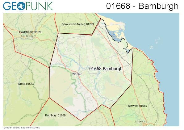 Map of the Bamburgh area code