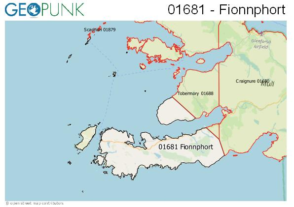 Map of the Isle of Mull - Fionnphort area code