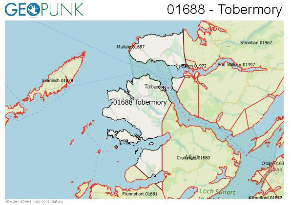 Map of the Isle of Mull - Tobermory area code