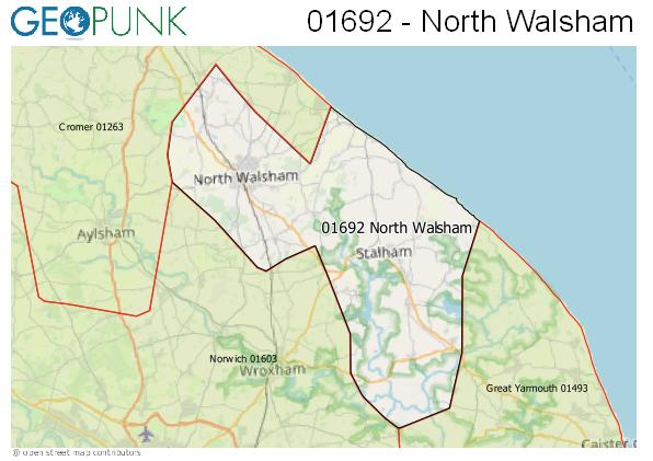 Map of the North Walsham area code