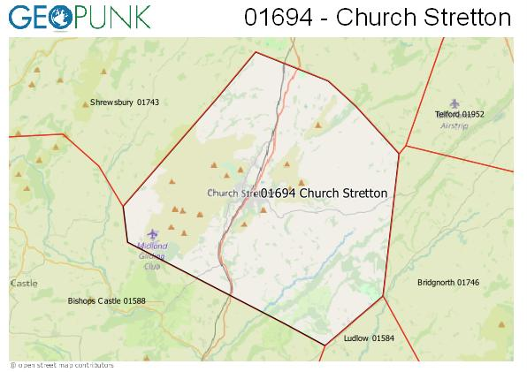Map of the Church Stretton area code