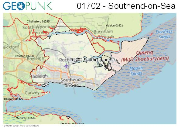 Map of the Southend-on-Sea area code
