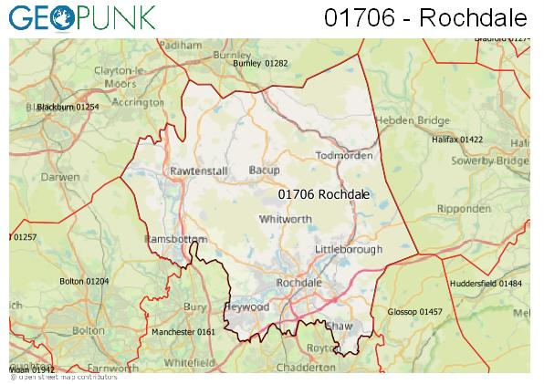 Map of the Rochdale area code