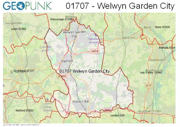Map of the Welwyn Garden City area code