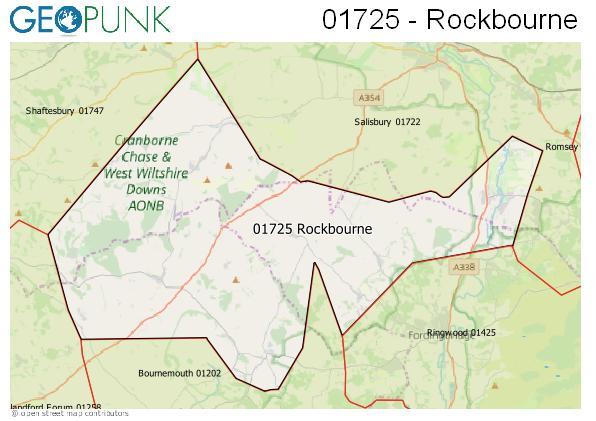 Map of the Rockbourne area code