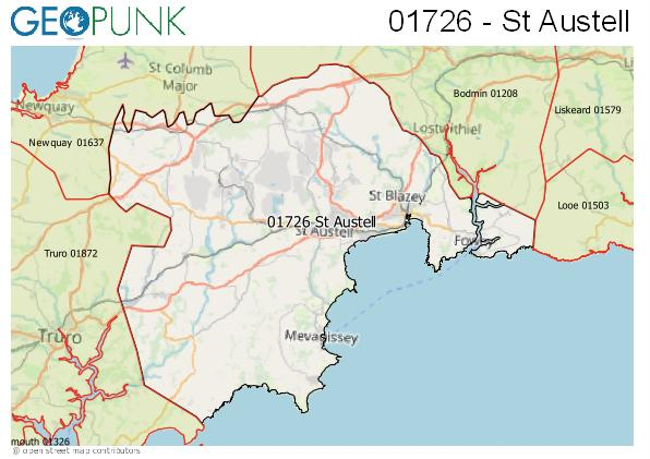 Map of the St Austell area code