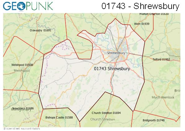 Map of the Shrewsbury area code