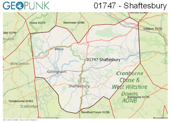 Map of the Shaftesbury area code