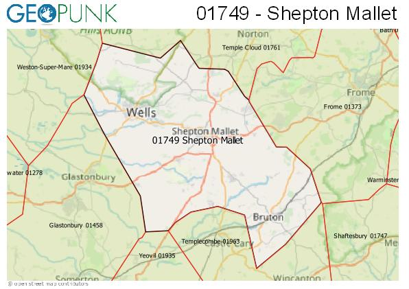 Map of the Shepton Mallet area code