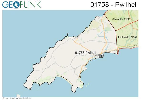 Map of the Pwllheli area code