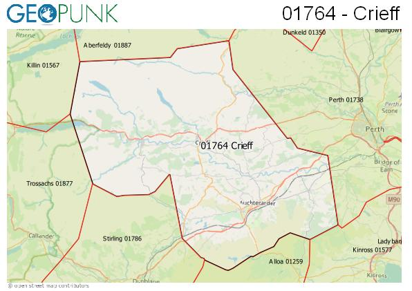 Map of the Crieff area code