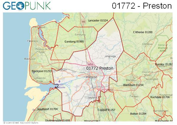 Map of the Preston area code